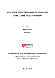 thesis csr disclosure The purpose of this thesis is to study the role of corporate social responsibility (hereinafter 'csr') in corporate governance in the context of employment this.