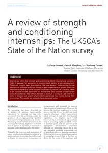 A review of strength and conditioning internships: the UKSCA's State